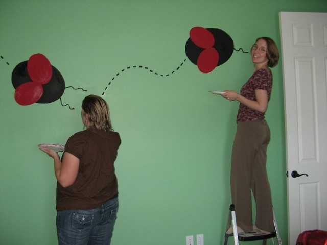 Mommy and Auntie and Grandma painted ladybugs in my new room!