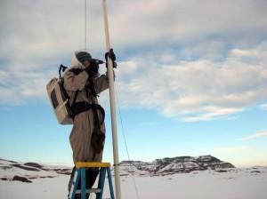 Mike working on the radio telescope