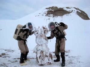 Carla and Mike built a Martian snowman!