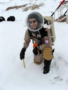 Brian measuring the snow accumulation