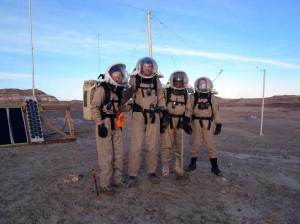 The intrepid EVA4 crew (Kiri, Mike, Luis, and Darrel) after raising the north antenna