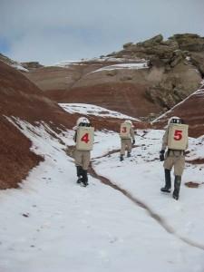 Kiri, Darrel, and Mike at the foot of Olympus Mons