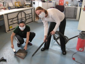 Carla and Kiri cleaning the Hab floor