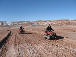 Carla and Mike taking the ATVs out for a spin