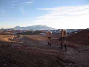 Kiri and Mike heading home from Olympus Mons