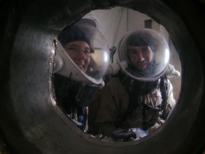 Kiri and Brian (Darrel invisible) in the airlock, ready to go out!