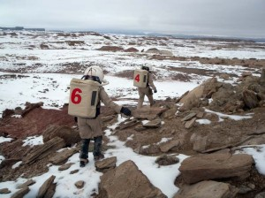 Carla and Kiri traversing the Lowell North Sedimentary Outcrop