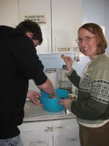 Mike and Kiri lick the bowl clean